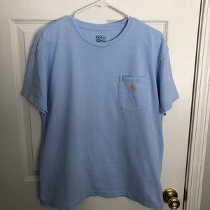 Blue polo t shirt.